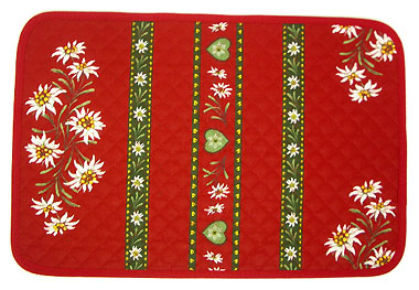Provence quilted Placemat, coated (Edelweiss bordeaux)
