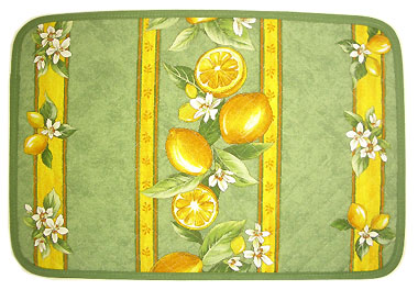 Provence quilted Placemat, non coated (lemons. mint green)