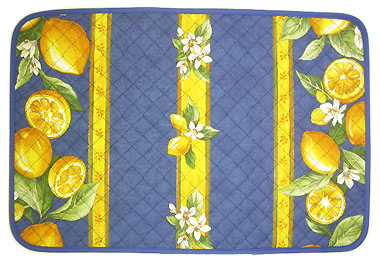 Provence quilted Placemat, non coated (lemons. blue)