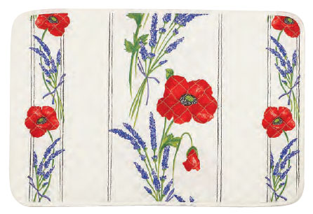 Provence quilted Placemat, non coated (Coquelicots Lavandes 3 co