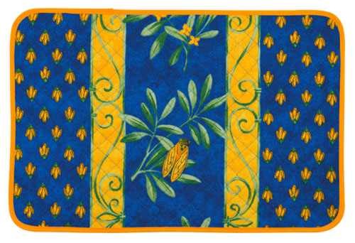 Provence quilted Placemat (cicada. blue)