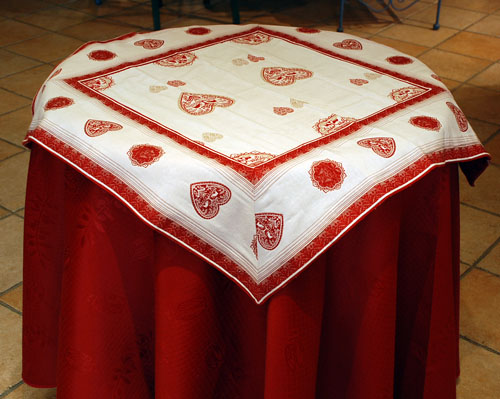 French Jacquard multi-cover (Montagne. White / red)