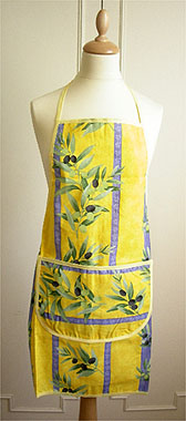 French Apron, Provence fabric (olives. yellow)
