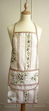French Apron, Provence fabric (olives 2005. raw x beige)