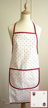 French Apron, Provence fabric (calissons. white x red)