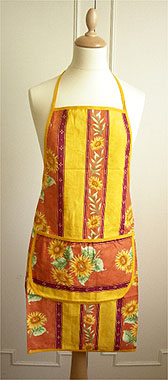 French Apron, Provence fabric (Beausoleil sunflowers. orange)