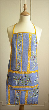 French Apron, Provence fabric (olives 2005. blue x yellow)