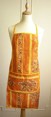 French Apron, Provence fabric (olives 2005. terracotta x orange)