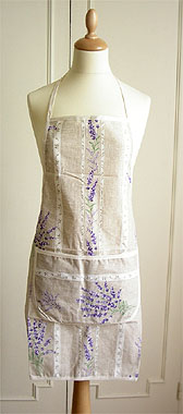French Apron, Provence fabric (lavender 2007. natural)