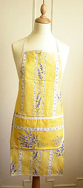 French Apron, Provence fabric (lavender 2007. yellow)