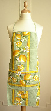 French Apron, Provence fabric (lemons. green)