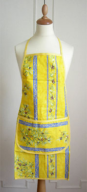 French Apron, Provence fabric (olives 2005. yellow x blue)