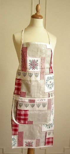 French coated Apron, Provence fabric (Auron Patch. red)