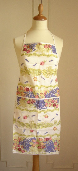 French Apron, Provence fabric (Lavender & roses. raw)