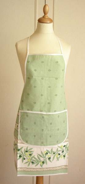 French Apron, Provence fabric (Ramatuelle. Mint green)