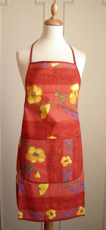 French Apron, Provence fabric (Coquelicots Lavandes. red)