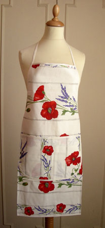 French Apron, Provence fabric (Coquelicots Lavandes. raw)