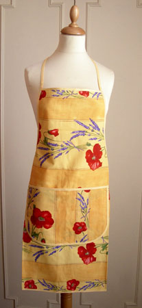 French Apron, Provence fabric (Coquelicots Lavandes. yellow)