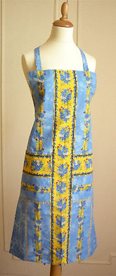 French Apron, Provence fabric (Marat Avignon / tradition. blue)