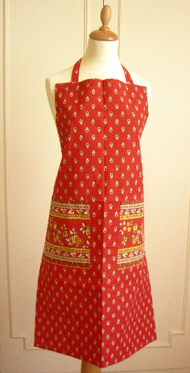 French Apron, Provence fabric (Marat d'Avignon / Avignon. red)