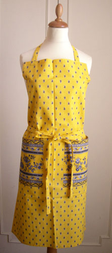 French Apron, Provence fabric (Marat d'Avignon /Avignon. yellow)