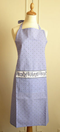 French Apron, Provence fabric (Calissons flowers. lavender blue)