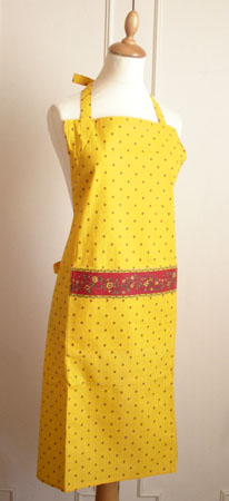 French Apron, Provence fabric (Calissons flowers. yellow x red)