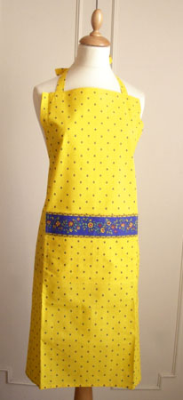 French Apron, Provence fabric (Calissons flowers. yellow x blue)