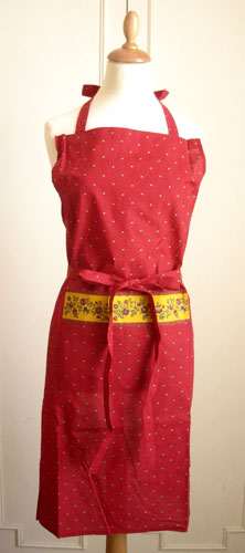 French Apron, Provence fabric (Calissons flowers.bordeaux)
