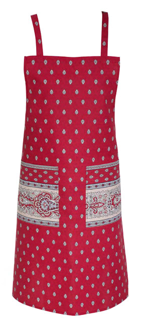 French Apron, Provence fabric (Marat Avignon / bastide. red)