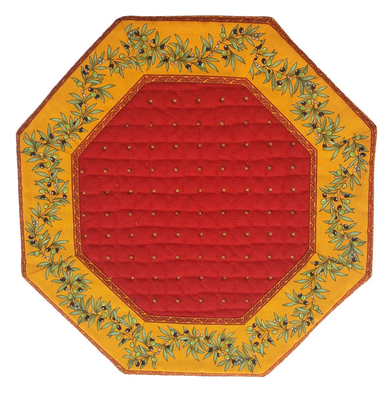 Placemats Octogonal Bordered (Calissons Olivettes.Red/yellow)