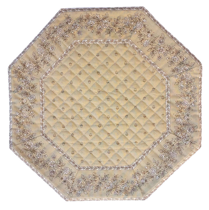 Placemats Octogonal Bordered (Calissons Fleurette. Beige)