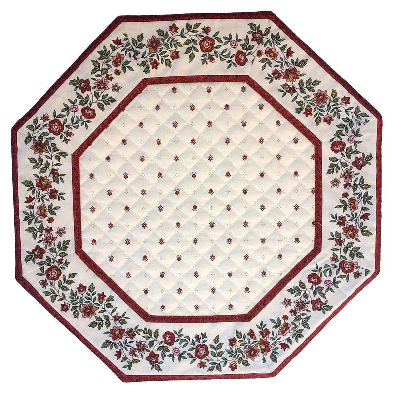 Placemats Octogonal Bordered (Calissons Fleurette.raw/red)