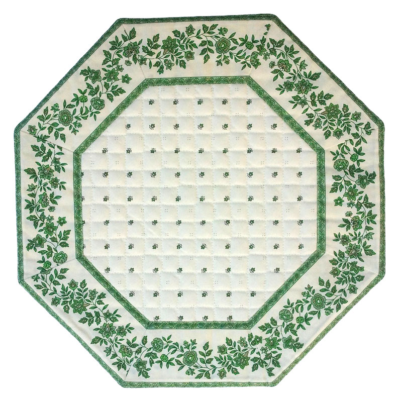 Placemats Octogonal Bordered (Calissons Fleurette.raw/green)