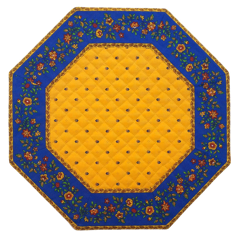 Placemats Octogonal Bordered (Calissons Fleurette. yellow/blue)