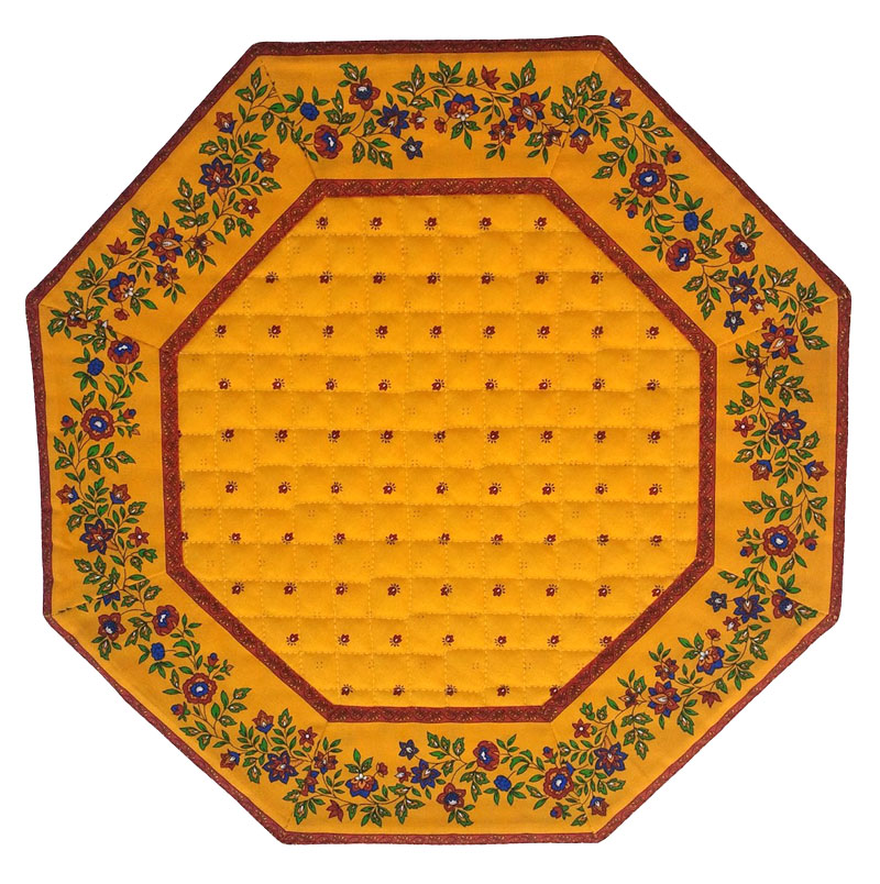 Placemats Octogonal Bordered (Calissons Fleurette. yellow)