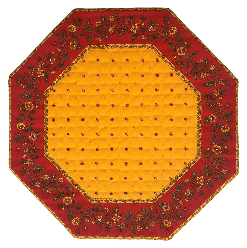 Placemats Octogonal Bordered (Calissons Fleurette. yellow/red)