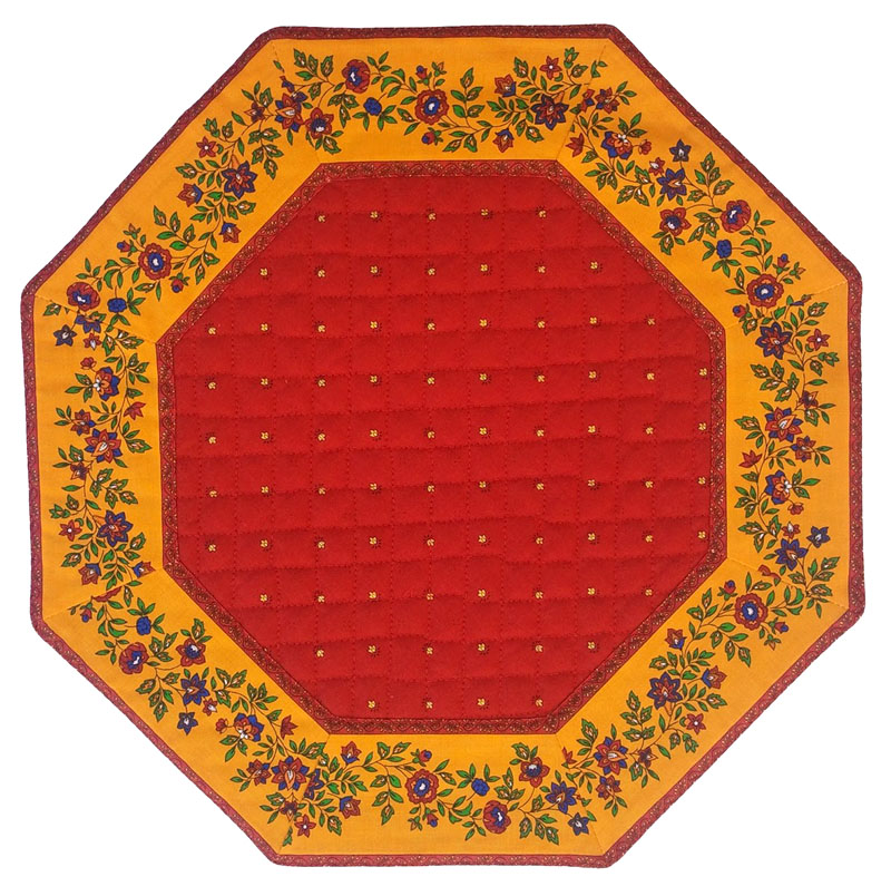 Placemats Octogonal Bordered (Calissons Fleurette. red/yellow)