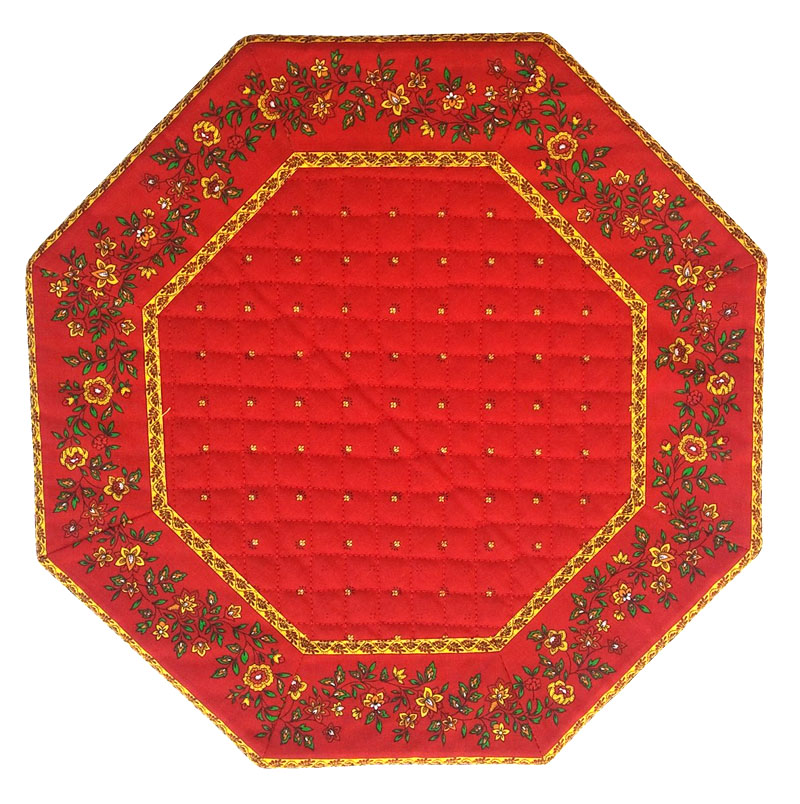 Placemats Octogonal Bordered (Calissons Fleurette. red)