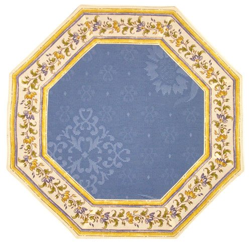 Octogonal Placemats Damask Jacquard (Moustier flower. blue)