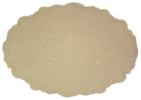 "Provencal Boutis Oval Floor mat ""ODEON"" (natural)"