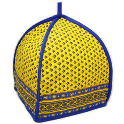French Provence teapot cover (Lourmarin. yellow x blue)
