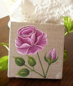 Provencal canvas, linen painting (rose)