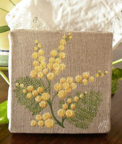 Provencal canvas, linen painting (mimosa)