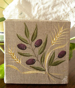 Provencal canvas, linen painting (olive & wheat)