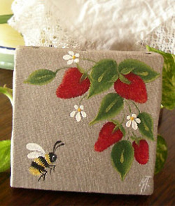 Provencal canvas, linen painting (wild Strawberries & bee)