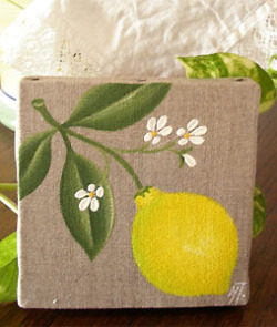 Provencal canvas, linen painting (lemons)