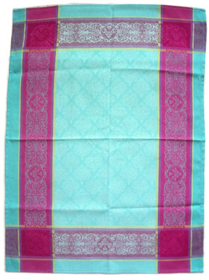 Set of 3 French Jacquard dish cloths (prestige. Turquoise)