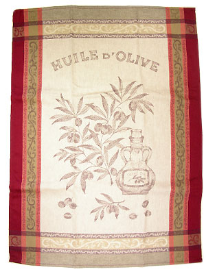 Set of 3 French Jacquard dish cloths (olive oil. Natural rouge)
