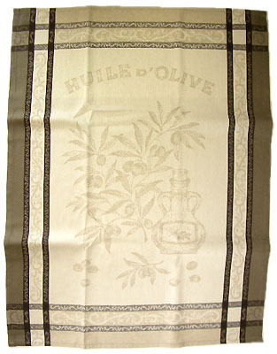 Set of 3 French Jacquard dish cloths (olive oil. Taupe)